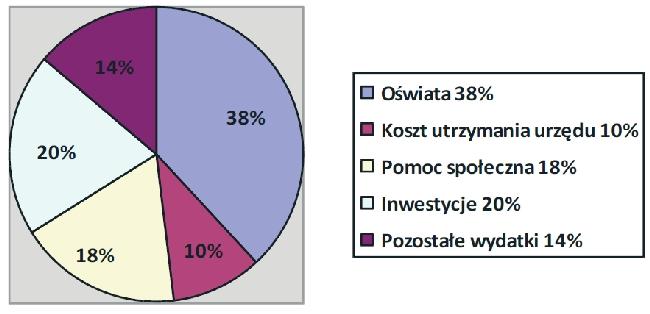 Wykres pokazujący szacunkową struktura dochodów przyszłej gminy
